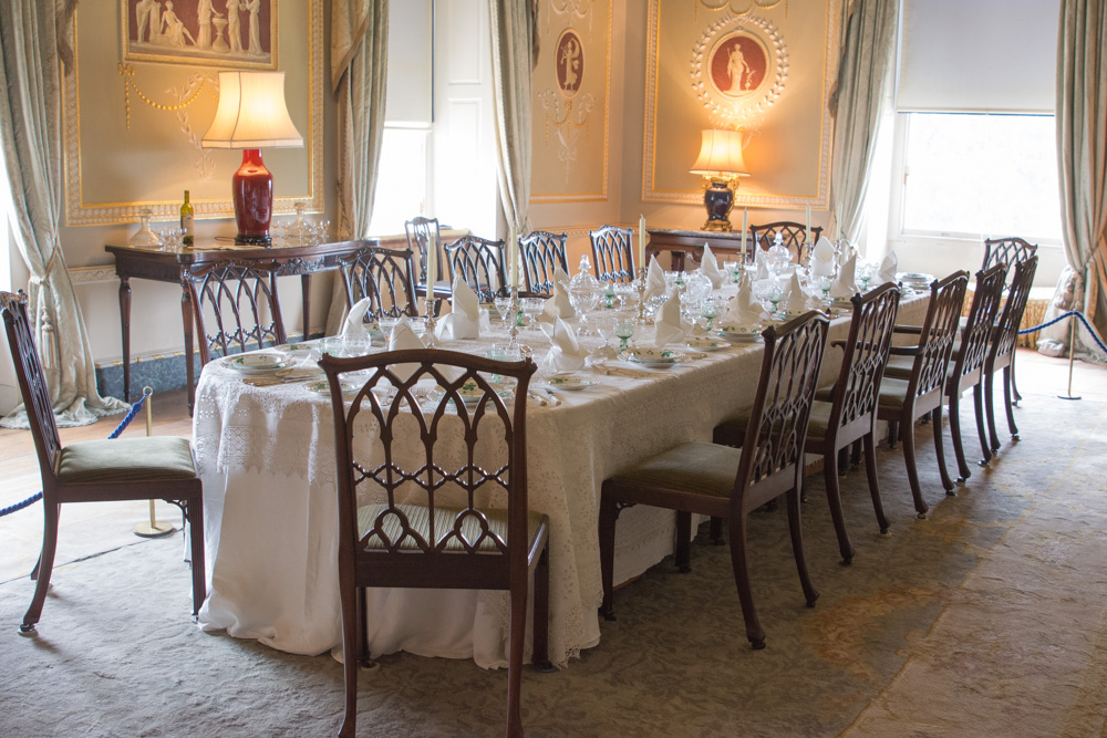 The dining room at Basildon Park, set as it might be for the characters of Downton Abbey.